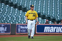 Missouri Tigers third base coach Todd Butler (22) during the game against the Oklahoma Sooners in game four of the 2020 Shriners Hospitals for Children College Classic at Minute Maid Park on February 29, 2020 in Houston, Texas. The Tigers defeated the Sooners 8-7. (Brian Westerholt/Four Seam Images)
