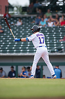 Mesa Solar Sox shortstop Nico Hoerner (17), of the Chicago Cubs organization, at bat during an Arizona Fall League game against the Peoria Javelinas at Sloan Park on October 11, 2018 in Mesa, Arizona. Mesa defeated Peoria 10-9. (Zachary Lucy/Four Seam Images)