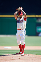 Clearwater Threshers starting pitcher Connor Seabold (35) gets ready to deliver a pitch during a game against the Jupiter Hammerheads on April 11, 2018 at Spectrum Field in Clearwater, Florida.  Jupiter defeated Clearwater 6-4.  (Mike Janes/Four Seam Images)