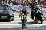 Enric Mas (Spa) Deceuninck-QuickStep crosses the finish line in 16th place atop the Col du Tourmalet losing the White Jersey at the end of Stage 14 of the 2019 Tour de France running 117.5km from Tarbes to Tourmalet Bareges, France. 20th July 2019.<br /> Picture: Colin Flockton | Cyclefile<br /> All photos usage must carry mandatory copyright credit (© Cyclefile | Colin Flockton)
