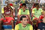 FC Barcelona's Alex Song, Neymar Santos Jr, Jonathan Dos Santos and Pinto during Supercup of Spain 1st match.August 21,2013. (ALTERPHOTOS/Acero)
