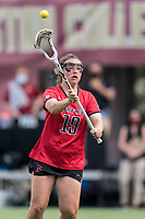 NEWTON, MA - MAY 14: Meaghan Graham #19 of Fairfield University passes the ball during NCAA Division I Women's Lacrosse Tournament first round game between Fairfield University and Boston College at Newton Campus Lacrosse Field on May 14, 2021 in Newton, Massachusetts.