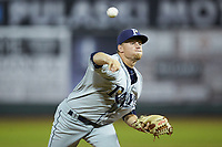 Princeton Rays relief pitcher Heath Renz (37) in action against the Pulaski Yankees at Calfee Park on July 14, 2018 in Pulaski, Virginia. The Rays defeated the Yankees 13-1.  (Brian Westerholt/Four Seam Images)