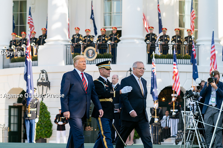President Donald J. Trump and Australian Prime Minister Scott Morrison review troops during the State Visit Friday, Sept. 20, 2019, on the South Lawn of the White House. (Official White House Photo by Shealah Craighead)