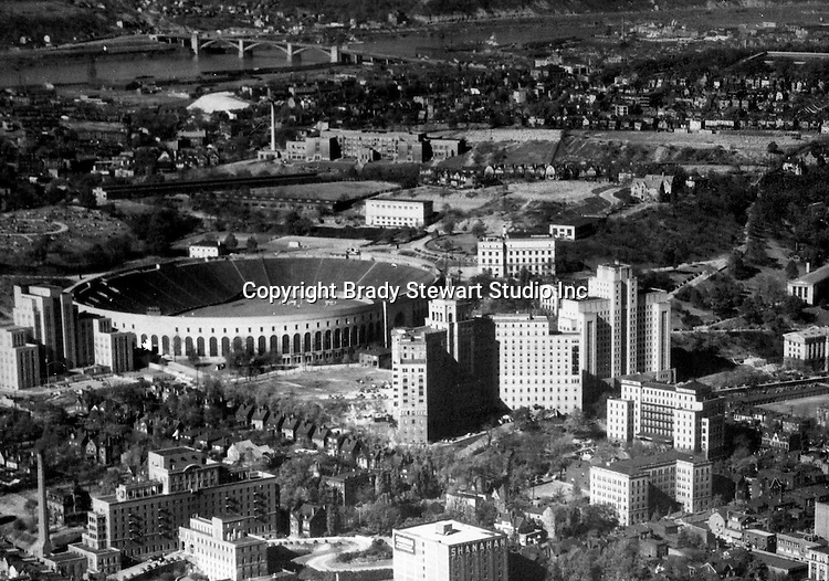 Pittsburgh PA:  Aerial View of Pitt Stadium, Presbyterian and Children Hospitals. The project was for Ingham, Boyd, and Pratt. They were one of the premier architects in Pittsburgh and did a lot of work for universities, hospitals, and local school districts in the Pittsburgh area. The successor firm is IKM, Inc.