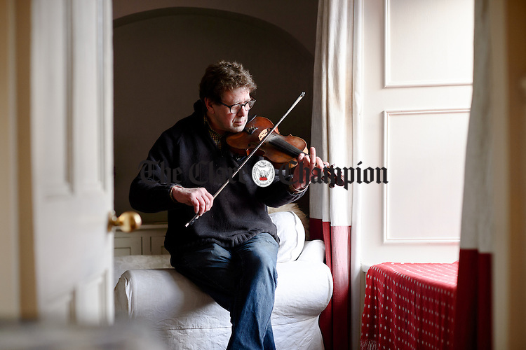 Musician Henry Benagh of Spanish Point, a member of The Good Mixer group, who have been invited to perform a concert in Corofin as part of the Corofin Traditional Festival. Photograph by John Kelly.