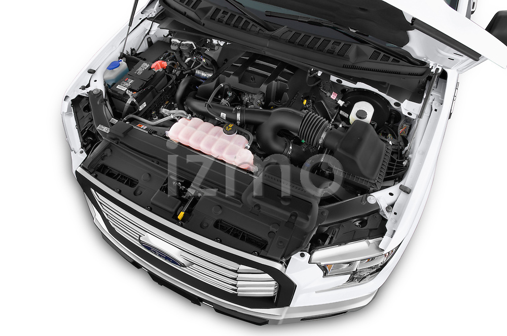 Car Stock 2015 Ford F-150 XLT SuperCrew 145-in Door Pickup Engine high angle detail view