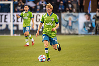 SAN JOSE, CA - MAY 12: Ethan Dobbelaere  #45 of the Seattle Sounders looks up to pass the ball during a game between San Jose Earthquakes and Seattle Sounders FC at PayPal Park on May 12, 2021 in San Jose, California.