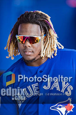 6 March 2019: Toronto Blue Jays top prospect infielder Vladimir Guerrero Jr. in the dugout during a Spring Training game against the Philadelphia Phillies at Dunedin Stadium in Dunedin, Florida. The Blue Jays defeated the Phillies 9-7 in Grapefruit League play. Mandatory Credit: Ed Wolfstein Photo *** RAW (NEF) Image File Available ***