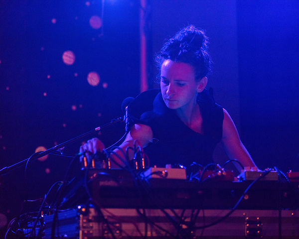 May 18, 2018. Durham, North Carolina.<br /> <br /> Katie Gately at the Pinhook. <br /> <br /> Moogfest 2018 showcases 4 days of music, art and technology spread out amongst venues in and around downtown Durham.
