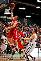 21 January 2010: Stony Brook University Seawolves' guard Bryan Dougher, a Sophomore from Scotch Plains, NJ, goes for a layup against the University of Vermont Catamounts at Patrick Gymnasium in Burlington, Vermont. The Catamounts fell to the Seawolves 65-60 in the America East matchup. Mandatory Credit: Ed Wolfstein Photo