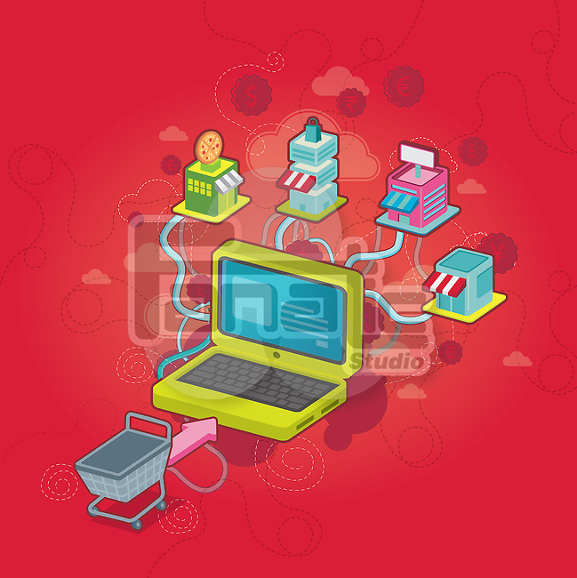 Conceptual image of computer and shopping cart with currency symbols depicting online shopping