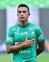 PALMIRA - COLOMBIA, 07-10-2020: Harold Gomez del Cali durante el partido entre Deportivo Cali y La Equidad por la fecha 12 de la Liga BetPlay DIMAYOR I 2020 jugado en el estadio Deportivo Cali de la ciudad de Palmira. / Harold Gomez of Cali during match between Deportivo Cali and La Equidad for the date 12 as part of BetPlay DIMAYOR League I 2020 played at Deportivo Cali stadium in Palmira city.  Photo: VizzorImage / Nelson Rios / Cont