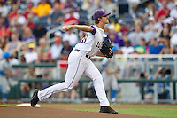 LSU Tigers pitcher Aaron Nola #10 pitches during Game 4 of the 2013 Men's College World Series between the LSU Tigers and UCLA Bruins at TD Ameritrade Park on June 16, 2013 in Omaha, Nebraska. The Bruins defeated the Tigers 2-1. (Brace Hemmelgarn/Four Seam Images)