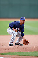 Burlington Bees third baseman Jeyson Sanchez (30) during a game against the Great Lakes Loons on May 4, 2017 at Dow Diamond in Midland, Michigan.  Great Lakes defeated Burlington 2-1.  (Mike Janes/Four Seam Images)