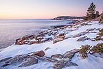 A winter morning along the Ocean Path in Acadia National Park, Downeast, ME, USA