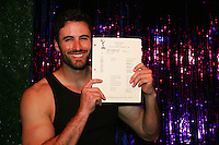 Matthew Pender (former Detroit Tiger Pitcher and now in the play When Joey Married Bobby) auctions of a General Hospital script on April 28, 2010 at Will Clark's P*rno Bingo at Pieces, New York City, New York to benefit the American Foundation for Suicide Prevention - an event presented by We Love Soaps (Damon Jacobs and Roger Newcomb). (Photos by Sue Coflin/Max Photos)