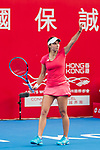 Viktoriya Tomova of Bulgaria competes against Dalila Jakupovic of Slovenia during their singles first round match at the WTA Prudential Hong Kong Tennis Open 2018 at the Victoria Park Tennis Stadium on 08 October 2018 in Hong Kong, Hong Kong. Photo by Yu Chun Christopher Wong / Power Sport Images