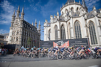race start in front of the ancient city hall of Leuven<br /> <br /> 55th Grote Prijs Jef Scherens - Rondom Leuven 2021 (BEL)<br /> <br /> One day race from Leuven to Leuven (190km)<br /> ridden over the final circuit of the 2021 World Championships road races <br /> <br /> ©kramon