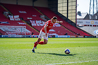24th April 2021, Oakwell Stadium, Barnsley, Yorkshire, England; English Football League Championship Football, Barnsley FC versus Rotherham United; Callum Brittain of Barnsley plays a long ball