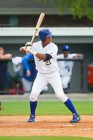 Alfredo Escalera-Maldonado (21) of the Burlington Royals at bat against the Greeneville Astros at Burlington Athletic Park on July 1, 2013 in Burlington, North Carolina.  The Astros defeated the Royals 7-0 in Game One of a doubleheader.  (Brian Westerholt/Four Seam Images)