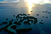 AERIAL OF THE ROCK ISLANDS PALAU, MICRONESIA, THE 70 ISLANDS AT SUNSET