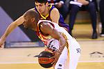 Liga ACB-ENDESA 2020/2021. Game: 26.<br /> FC Barcelona vs Casademont Zaragoza: 107-88.<br /> Javier Justiz vs Leandro Bolmaro.