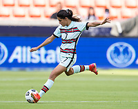 HOUSTON, TX - JUNE 13: Francisca Nazareth #7 of Portugal passes the ball during a game between Nigeria and Portugal at BBVA Stadium on June 13, 2021 in Houston, Texas.
