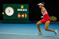 8th February 2021; Melbourne, Victoria, Australia;  Lizette Cabrera of Australia returns the ball during round 1 of the 2021 Australian Open on February 8 2020, at Melbourne Park in Melbourne, Australia.