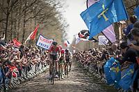 Marcel Sieberg (DEU/Lotto-Soudal) leading the peloton over the  Arenberg Forest / Bois de Wallers cobbles<br /> <br /> 116th Paris-Roubaix (1.UWT)<br /> 1 Day Race. Compiègne - Roubaix (257km)