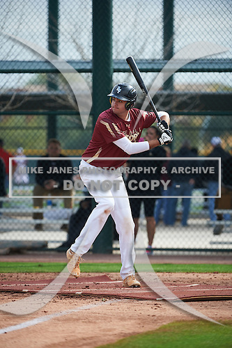 Peter Cowley (12) of JUPITER High School in Jupiter, Florida during the Under Armour All-American Pre-Season Tournament presented by Baseball Factory on January 14, 2017 at Sloan Park in Mesa, Arizona.  (Art Foxall/Mike Janes Photography)
