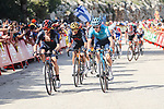 Adam Yates (GBR) and Richard Carapaz (ECU) Ineos Grenadiers and Aleksandr Vlasov (RUS) Astana-Premier Tech on the final climb during Stage 6 of La Vuelta d'Espana 2021, running 158.3km from Requena to Alto de la Montaña Cullera, Spain. 19th August 2021.    <br /> Picture: Luis Angel Gomez/Photogomezsport   Cyclefile<br /> <br /> All photos usage must carry mandatory copyright credit (© Cyclefile   Luis Angel Gomez/Photogomezsport)