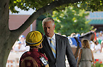 July 29, 2012 Todd Pletcher and Javier Castellano, trainer and jockey of Molly Pitcher contender R Gypsy Gold, talk in the paddock before the race. Brushed By a Star, Corey Nakatani up, wins the Molly Pitcher, a grade II stakes at Monmouth Park Racetrack, Oceanport, NJ. @Joan Fairman Kanes/Eclipse Sportswire
