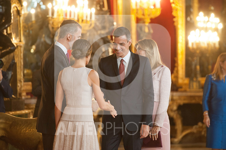 King Felipe VI of Spain, Queen Letizia of Spain, President Pedro Sanchez and Maria Begona Gomez attends to Sapnish National Day palace reception at the Royal Palace in Madrid, Spain. October 12, 2018. (ALTERPHOTOS/A. Perez Meca)