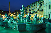 Italy, Rome, Piazza Navona,  Fontana del Moro,  remodelled in 1653 by Bernini