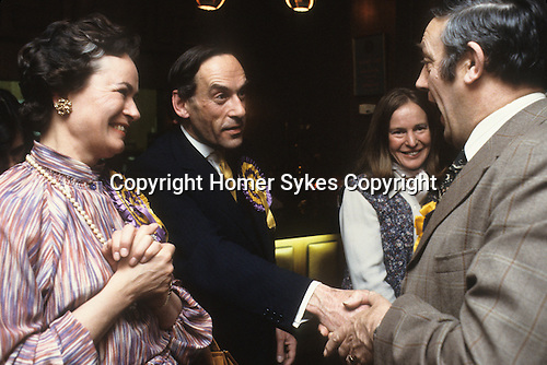 """""""Thorpe works for us."""" Jeremy Thorpe with wife Marion at his adoption meeting for his mid Devon constituency 1979. He lost  his liberal parliamentary seat. England."""