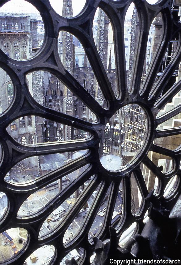 Metalwork design by Antoni Gaudi with a view to Sagrada Familia. Barcelona, Spain.