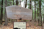 Sandwich Range Wilderness sign in the White Mountain National Forest of New Hampshire USA.