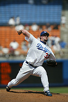 Eric Gagne of the Los Angeles Dodgers during a 2003 season MLB game at Dodger Stadium in Los Angeles, California. (Larry Goren/Four Seam Images)