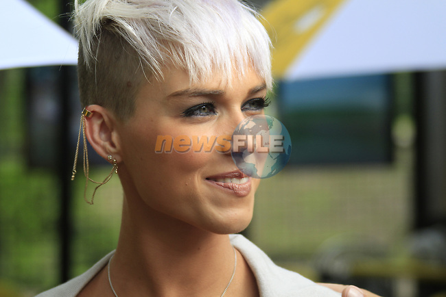 Philippe Gilbert's wife Patricia in the Tour Village before the start of Stage 1 of the 99th edition of the Tour de France, running 198km from Liege to Seraing starting in Parc d'Avroy Liege, Belgium. 1st July 2012.<br /> (Photo by Eoin Clarke/NEWSFILE)