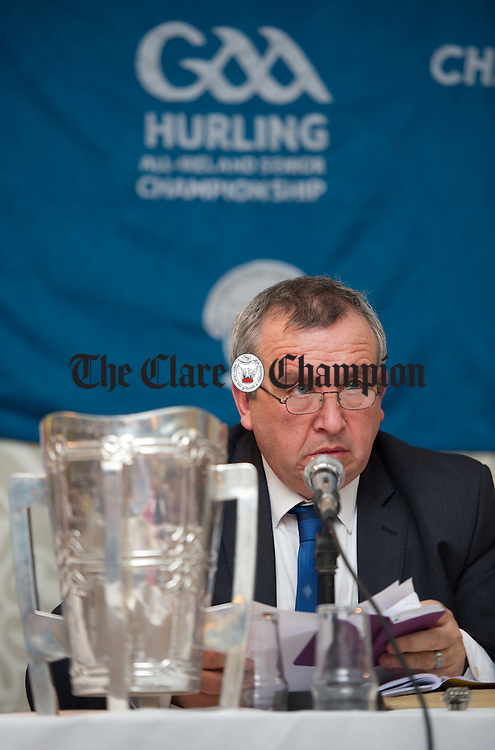 Clare GAA chairman Michael Mc Donagh at the Clare GAA county convention at The Auburn Lodge hotel in Ennis. Photograph by John Kelly.