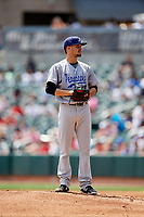 Pensacola Blue Wahoos starting pitcher Jesus Reyes (17) looks in for the sign during a game against the Birmingham Barons on May 9, 2018 at Regions Field in Birmingham, Alabama.  Birmingham defeated Pensacola 16-3.  (Mike Janes/Four Seam Images)
