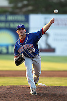 Auburn Doubledays pitcher Nick Lee #29 delivers a pitch during a game against the Batavia Muckdogs at Dwyer Stadium on June 20, 2012 in Batavia, New York.  Batavia defeated Auburn 9-3.  (Mike Janes/Four Seam Images)