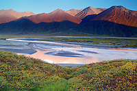 Looking across the Atigun River Valley at the Endicott Mountains of the Brooks Range and the eastern boundary of the Gates of the Arctic National Park, Dalton Highway, Alaska