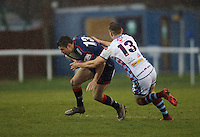 Robbie Fergusson of London Scottish Football Club and Rory Hutchinson of Rotherham Titans during the Greene King IPA Championship match between London Scottish Football Club and Rotherham Titans at Richmond Athletic Ground, Richmond, United Kingdom on 1 January 2017. Photo by Alan  Stanford.