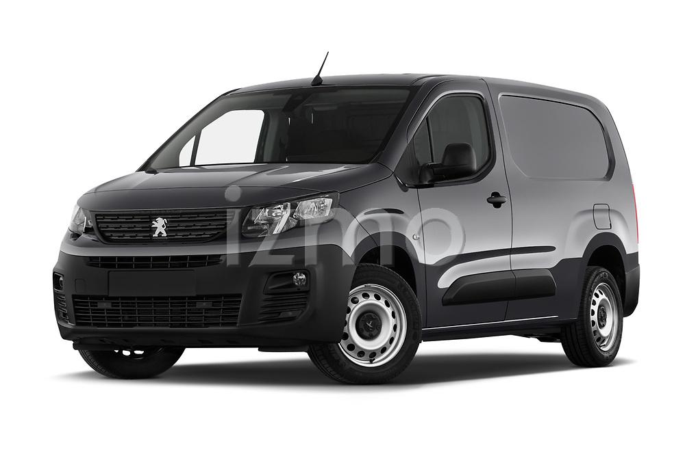 Stock pictures of low aggressive front three quarter view of 2019 Peugeot Partner Pemium 4 Door Car Van Low Aggressive