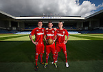 Calum Gallagher, Nicky Clark and Robbie Crawford at Ibrox for the third kit launch