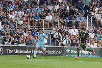 ST PAUL, MN - JULY 24: Ethan Finlay #13 of Minnesota United FC during a game between Portland Timbers and Minnesota United FC at Allianz Field on July 24, 2021 in St Paul, Minnesota.
