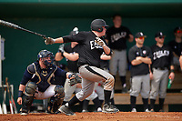 Edgewood Eagles Nick Lehner (36) at bat in front of catcher Matt Haskell during the second game of a doubleheader against the Lasell Lasers on March 14, 2016 at Terry Park in Fort Myers, Florida.  Edgewood defeated Lasell 10-2.  (Mike Janes/Four Seam Images)