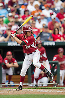 Arkansas Razorbacks pinch hitter Carson Shady (20) at bat against the Virginia Cavaliers in Game 1 of the NCAA College World Series on June 13, 2015 at TD Ameritrade Park in Omaha, Nebraska. Virginia defeated Arkansas 5-3. (Andrew Woolley/Four Seam Images)